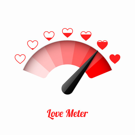 Love meter, Valentines Day card design element. Illustration