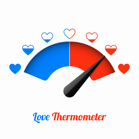Love thermometer, Valentines Day card design element. 矢量图像