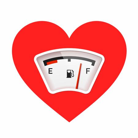 Red heart with fuel gauge, love meter Valentine's Day card design element. Vetores