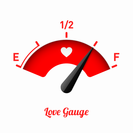 Love gauge. Valentines Day card design element. Vettoriali