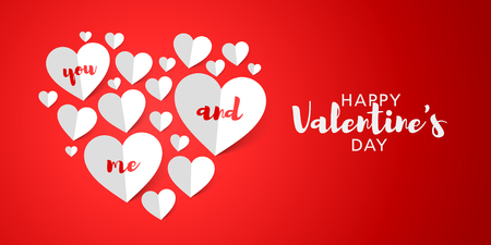 Valentines Day greeting card design with airy paper hearts Illustration