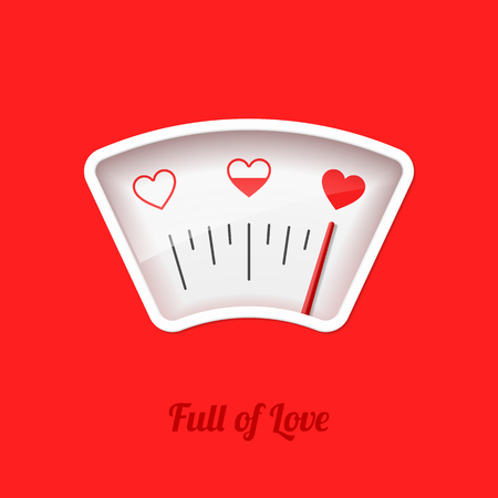 Full of Love meter for Valentine's Day card design element 向量圖像