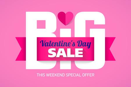 Valentines Day Big Sale Weekend, special offer banner Illustration