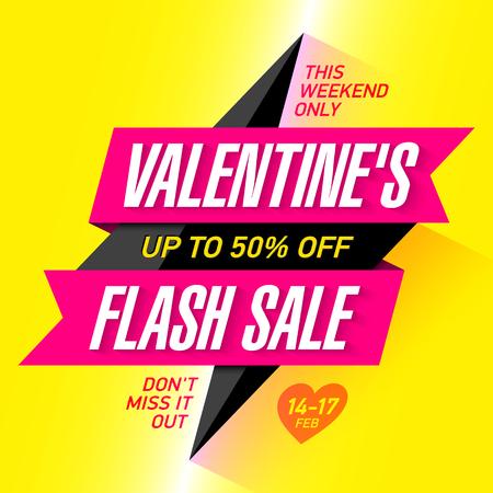 Valentines Day Flash Sale bright banner template
