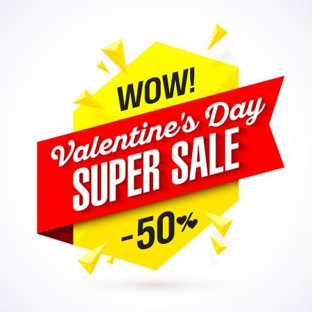 Wow! Valentines Day Super Sale banner Vettoriali