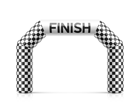 Inflatable finish line arch illustration. Inflatable archway template with checkered flag Vettoriali