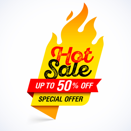 Hot Sale banner, special offer, up to 50% off. Vectores