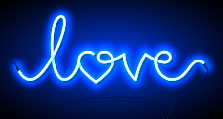 Word Love neon sign. Valentines Day greeting card, poster, flyer or banner design element.