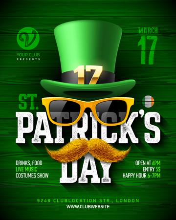 Saint Patrick's Day, Feast of Saint Patrick party poster design, 17 March celebration invitation with vintage lettering, leprechaun hat, orange sunglasses and mustache