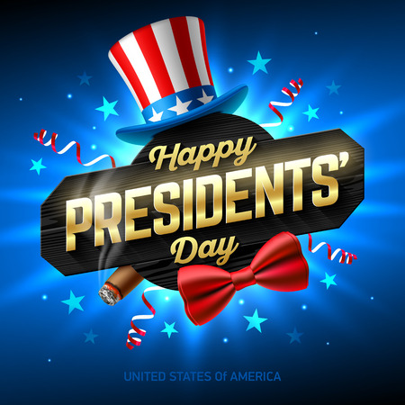 Happy Presidents' Day greeting card design with collage of USA flag party hat, smoldering cigar, red bow tie and Happy Presidents Day phrase on black wooden board. Ilustração