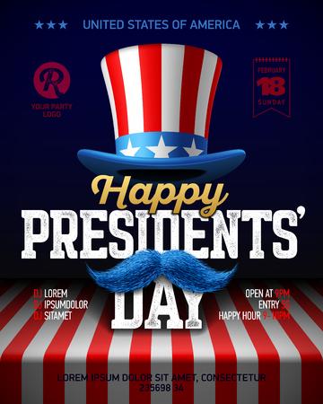O Projeto Feliz Do Cartaz Do Partido Do Dia Dos Presidentes Com Colagem Dos Eua Embandeira O Chapéu Do Partido O Bigode E A Frase Feliz De Day Dos