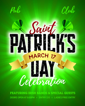 Saint Patricks Day, 17 March, Feast of Saint Patrick celebration poster design template.