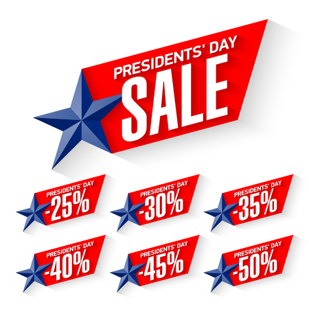 USA Presidents' Day sale discount labels.