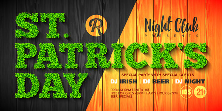 Saint Patricks Day party invitation or flyer design template , 17th of March nightclub invitation with green glass lettering on wooden background.