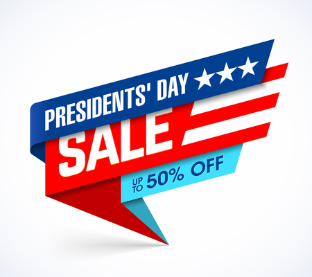 Presidents' Day Sale banner design template, big sale, special offer, up to 50% off. Stock Vector - 94974835