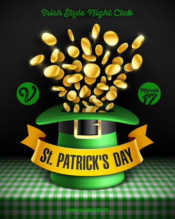Saint Patricks Day party poster design, 17 March Feast of Saint Patrick celebration, club invitation with leprechaun hat and gold coins on green tablecloth. Illustration