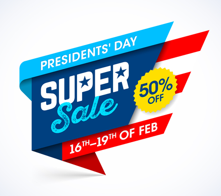 Presidents' Day Super Sale banner design template, big weekend sale, special offer. Illustration