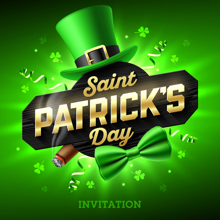 Feast of Saint Patrick. Leprechaun hat, gold lettering, party streamers, green bow tie and smouldering cigar on bright shining green background