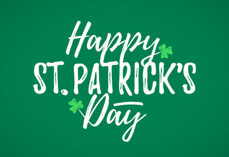 Happy St. Patricks Day greeting card, March Feast of St. Patrick, handdrawn dry brush style lettering