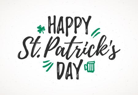 Kartka z życzeniami Happy St Patrick's Day, 17 marca Święto św. Patryka, ręcznie rysowane napis w stylu suchym pędzlem Ilustracje wektorowe