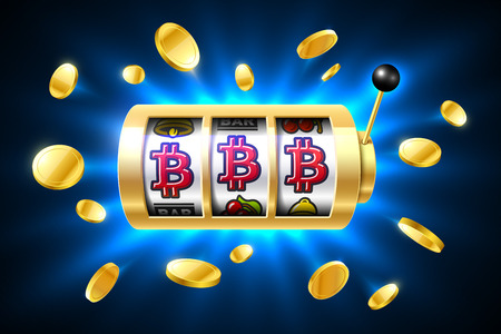 Bitcoin jackpot, cryptocurrency symbols on slot machine. Gambling games, casino banner with bright blue background and flying coins around Illustration