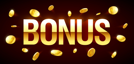 Bonus, gambling games casino banner with Bonus inscription and gold explosion of coins around Ilustração