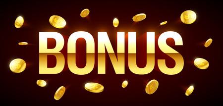 Bonus, giochi d'azzardo banner del casinò con iscrizione Bonus e esplosione d'oro di monete in giro