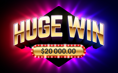 Huge Win banner for lottery or casino games vector illustration