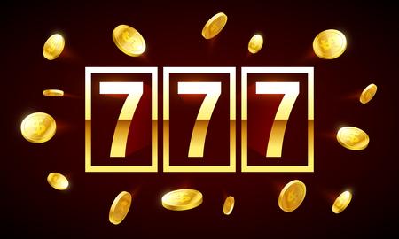 777, triple lucky sevens jackpot vector illustration Çizim