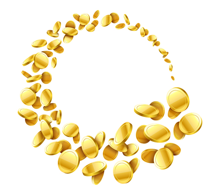 Flying around gold coins vector illustration Illustration