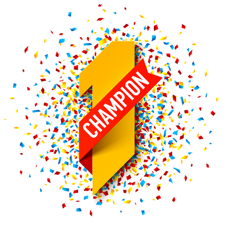First Champion, number one illustration with red ribbon and confetti shot Stock Illustratie