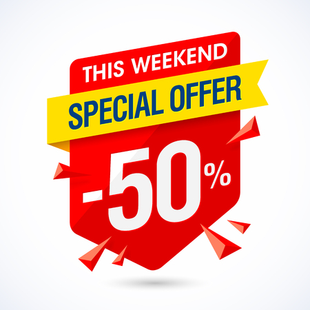 This weekend special offer sale banner, half price discount, 50% off.