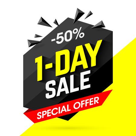 One Day big Sale bright banner design, special offer, 50% off Illustration
