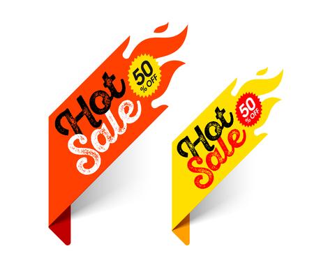 Hot Sale banner. Special offer, big sale, discount up to 50% off Illustration