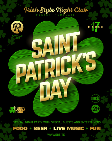 St. Patrick's Day party poster design template, 17 March nightclub invitation with gold shining lettering on wooden green clover