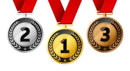 Champions gold, silver and bronze award medals with red ribbon. First, second and third places awards