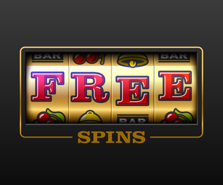 Free Spins bouns, slot machine games banner, gambling casino games, slot machine illustration with text Free Spins