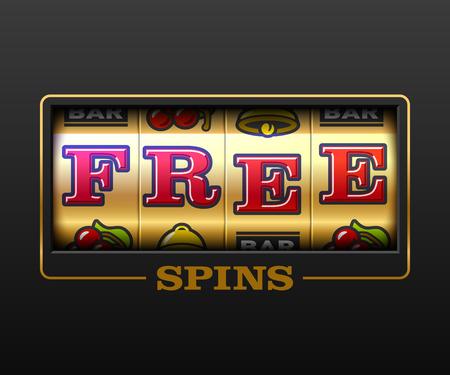 Tours gratuits, bannière de jeux de machines à sous, jeux de casino, illustration de machine à sous avec texte Tours gratuits Vecteurs