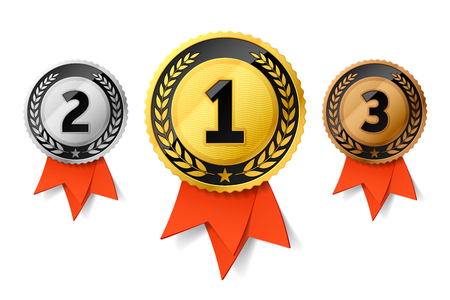 Champions gold, silver and bronze award medals with red ribbon. First, second and third places awards Stok Fotoğraf - 96522377