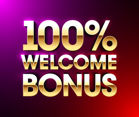 100% Welcome Bonus banner, Vector illustration.