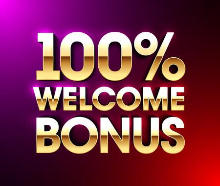 100% Welcome Bonus banner, Vector illustration.