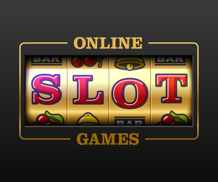 Online Slot Games, slot machine games banner, gambling casino games, slot machine illustration with text Online Slot Games