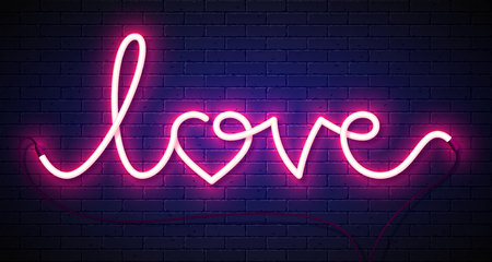 Word Love neon sign on brick wall background. Valentines Day greeting card, poster, flyer or banner design element Illustration