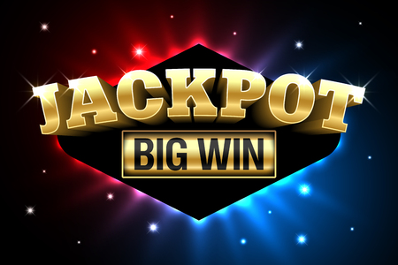 A Jackpot, gambling casino money games banner, big win Illustration