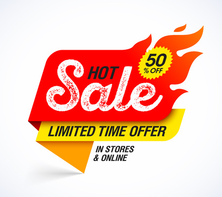 Hot Sale banner. Limited time special offer, big sale, discount up to 50% off