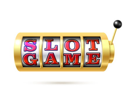 Slot machine with text slot game. 向量圖像