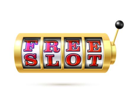 Slot machine with text free slot illustration.