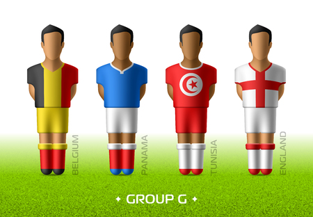 Football  soccer team players in the uniform of national flags for football championship in Russia 2018. Group G with footballers of Belgium, Panama, Tunisia and England