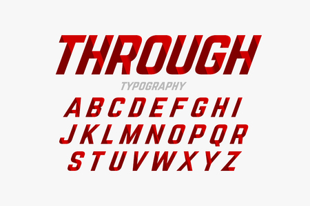 Cutted through font, alphabet and numbers