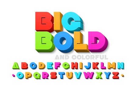 Bold colorful 3d font Stock Illustratie